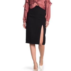 DO + BE Pleated Ruffle Trim Vent Pencil Skirt